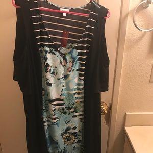 Cold Shoulder Mixed Stripe Floral Sheath Dress